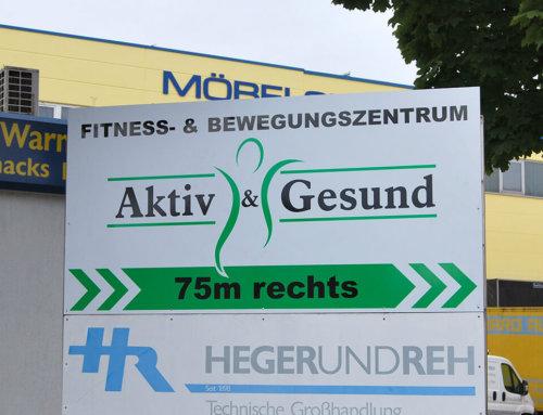 Firmenschild Fitnessstudio Aktiv & Gesund
