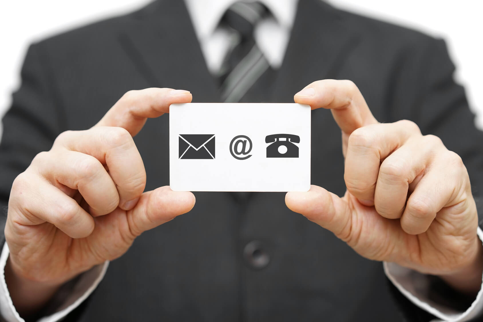 businessman hold business card with email,mail, phone icon. Cont