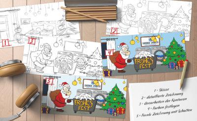 entstehung weihnachtskarte
