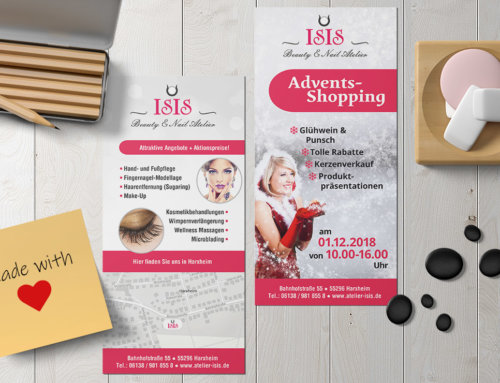 Poster und Flyer Kosmetikstudio Adventsshopping