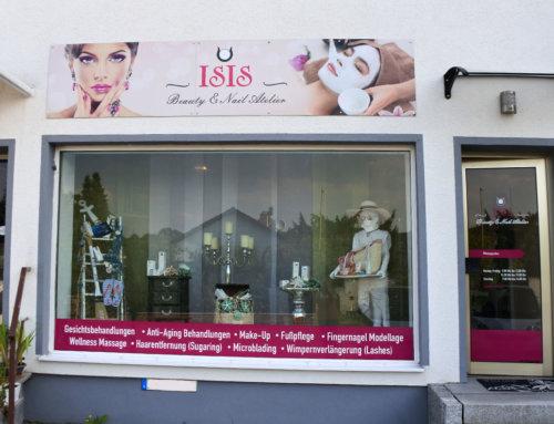 Schaufensterbeschriftung und Firmenschild Mainz – Isis Beauty